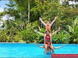 Having fun at the Tropical Paradise pool